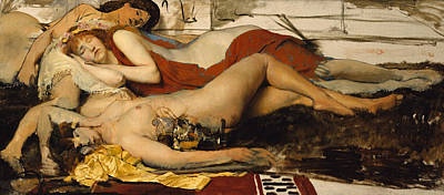 Exhausted Maenides Poster by Sir Lawrence Alma Tadema