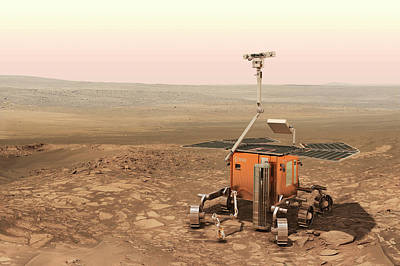 Exomars Rover On Mars Poster by European Space Agency/aoes Medialab