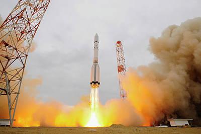 Exomars Spacecraft Launch Poster by European Space Agency/stephane Corvaja