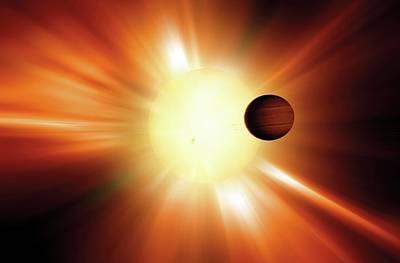 Exoplanet And Star Poster by Detlev Van Ravenswaay