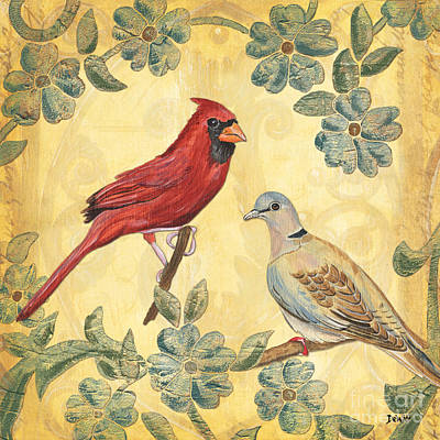 Exotic Bird Floral And Vine 2 Poster by Debbie DeWitt