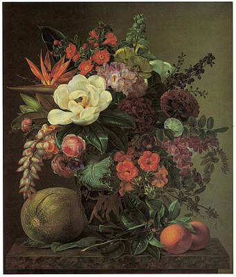 Exotic Bloom In A Grecian Urn Poster by Johan Laurentz Jensen