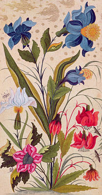 Exotic Flowers With Insects Poster by Mughal School