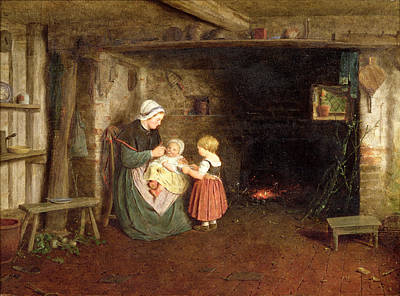 Expectation Interior Of A Cottage Poster by Frederick Daniel Hardy