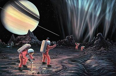 Expedition To Enceladus Poster by Richard Bizley
