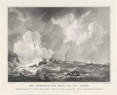 Exploding Of The Boat Of Jan Van Speyk, 1831 Poster by Gijsbertus Craeyvanger And Desguerrois & Co.
