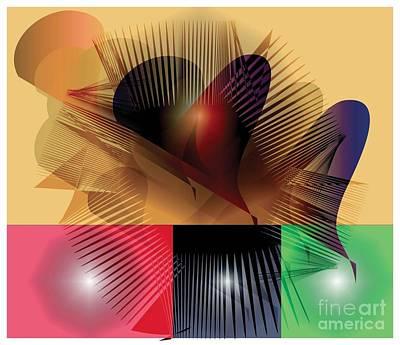 Poster featuring the digital art Explosion 2 by Iris Gelbart