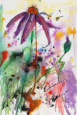 Expressive Purple Coneflower Watercolor And Ink Painting Poster