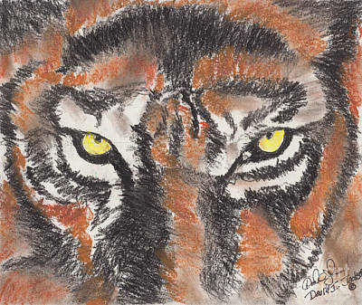 Poster featuring the pastel Eye Of The Tiger by David Jackson