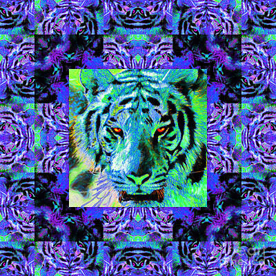 Eyes Of The Bengal Tiger Abstract Window 20130205m80 Poster by Wingsdomain Art and Photography
