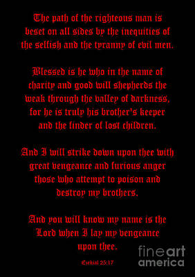 Ezekial 25 17-old English Black And Red Poster by Roz Abellera Art