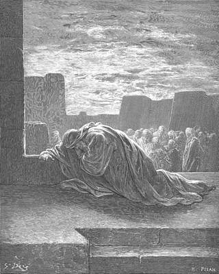Ezra In Prayer Poster by Gustave Dore