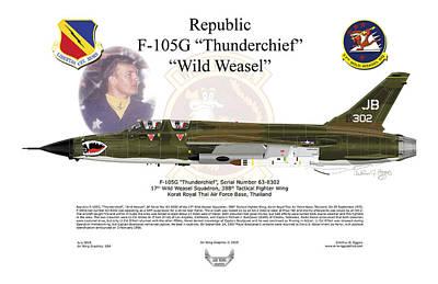 Poster featuring the digital art F-105g Thunderchief Wild Weasel by Arthur Eggers
