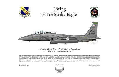 F-15e Strike Eagle 335th Fs Poster by Arthur Eggers