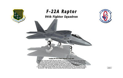 F-22a Raptor 94th Fighter Squadron With Reflection Poster by Bob Tyler