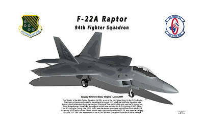 F-22a Raptor 94th Fighter Squadron With Shadow Poster by Bob Tyler