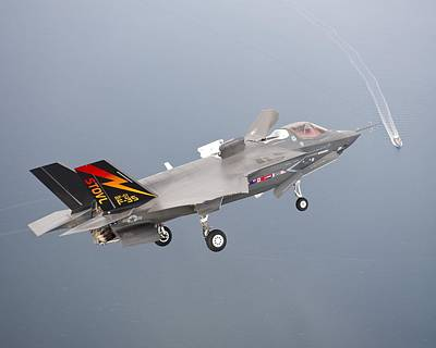 F 35 Final Approach Us Assault Carrier Poster by US Military - L Brown