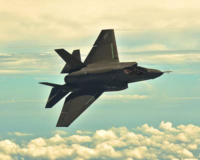 F 35 Joint Strike Fighter Lightening II Banking Enhanced Poster by US Military - L Brown
