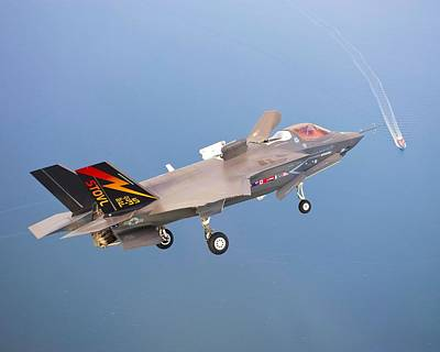 F 35 Joint Strike Fighter Fianl Approach Us Assault Carrier Enhanced Poster by US Military - L Brown