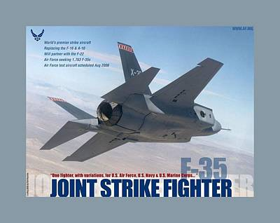 F 35 Joint Strike Fighter Larger Border Poster by L Brown
