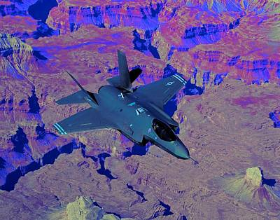 F 35 Joint Strike Fighter Lightening II Enhanced Poster by US Military - L Brown