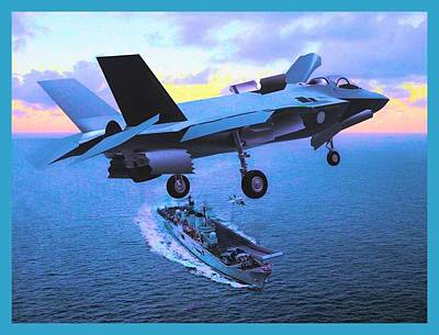 F 35 Joint Strike Fighter On Final Approach To Us Assault Carrier Enhanced II  Poster by US Military - L Brown