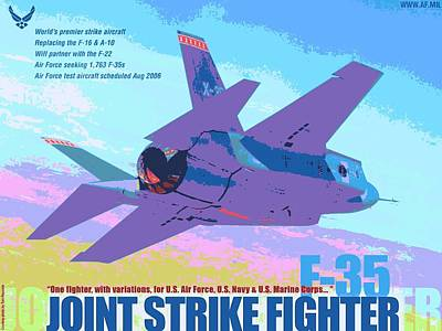 F 35 Joint Strike Fighter With Text Enhanced II Poster by US Military - L Brown