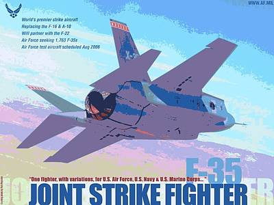 F 35 Joint Strike Fighter With Text Enhanced Poster by US Military - L Brown