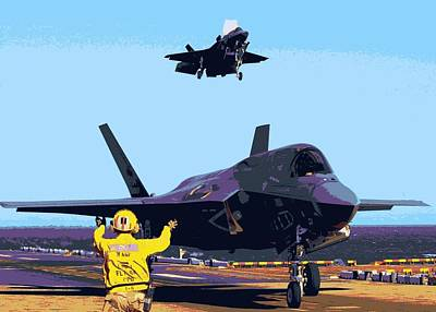 F 35 Strike Fighters Landing Vertically On The Flight Deck Of Us Marine Assault Carrier Enhanced II Poster by US Military - L Brown