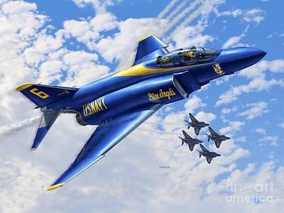 F-4 Phantoms In Blue Poster by Stu Shepherd