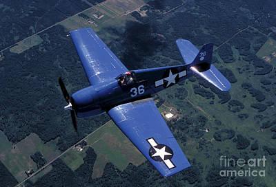 F-6f Hellcat Flying Over Oshkosh Poster