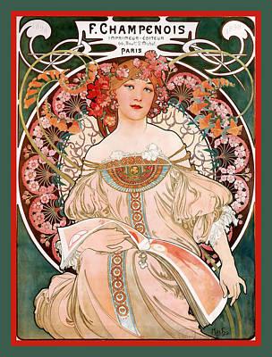 F Champenois Imprimeur Editeur Poster by Alphonse Maria Mucha