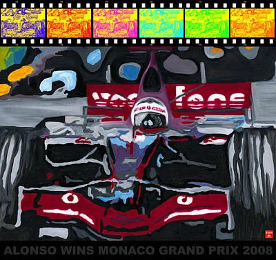 F1 Alonso Wins Monaco 2008 Pop 2 Poster