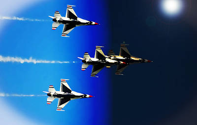 Poster featuring the photograph F16 Flight Into Space by DigiArt Diaries by Vicky B Fuller