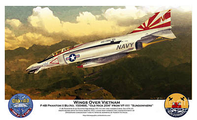 Poster featuring the drawing F4-phantom Wings Over Vietnam by Kenneth De Tore