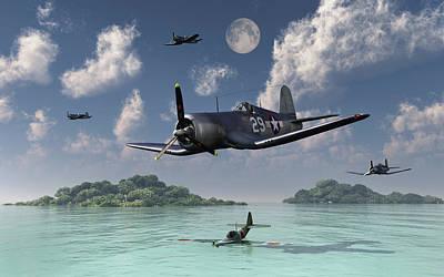 F4u Corsairs Flying Over A Shot Poster by Mark Stevenson