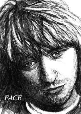 Face Art Drawing Sketch Portrait Poster by Kim Wang