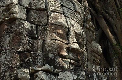 Face At Banyon Ankor Wat Cambodia Poster by Bob Christopher