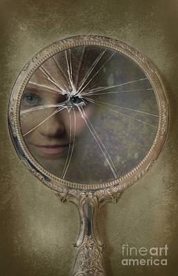 Face In Broken Mirror Poster