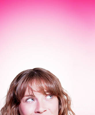 Face Of Young Woman Looking Up At Pink Copyspace Poster by Jorgo Photography - Wall Art Gallery