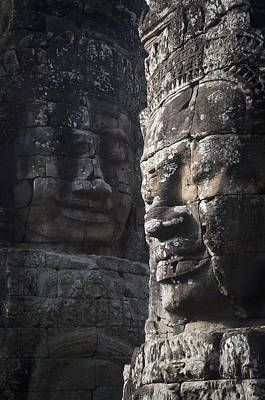 Face Sculptures On Stone Walls Poster by Alex Adams