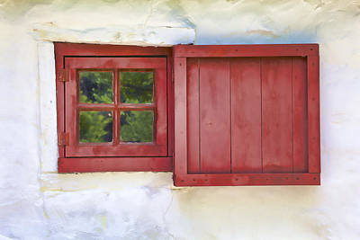 Faded Red Painted Wood Window  Poster