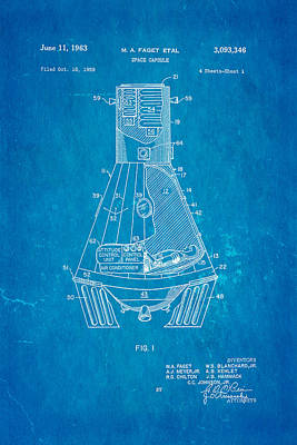 Faget Space Capsule Patent Art 1963 Blueprint Poster by Ian Monk