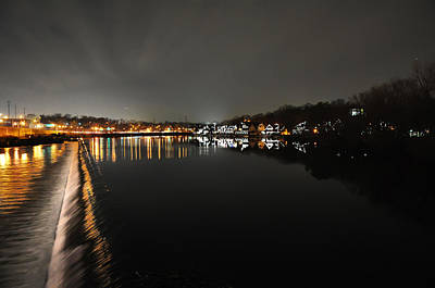 Fairmount Dam And Boathouse Row In The Evening Poster