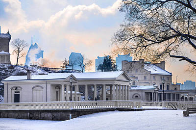 Fairmount Waterworks In The Snow Poster by Bill Cannon