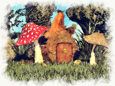 Fairy House With Toadstool Poster