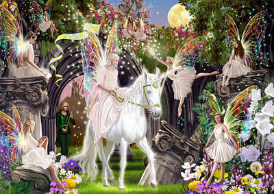 Fairy Queen With Unicorn Poster by Garry Walton