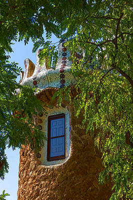 Fairy Tale Building Through The Trees - Impressions Of Barcelona Poster