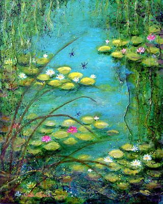 Fairy Tale Water Lilies Pond Poster by Carla Parris