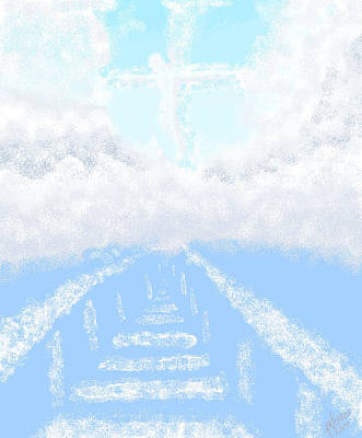 Digital Art Of Religious Image In A Cloudy Blue Sky  Poster